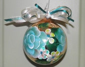Hand painted Ornament -Acrylic Original-Teal and Turquoise Glass-Roses and Daisies-Any Occasion