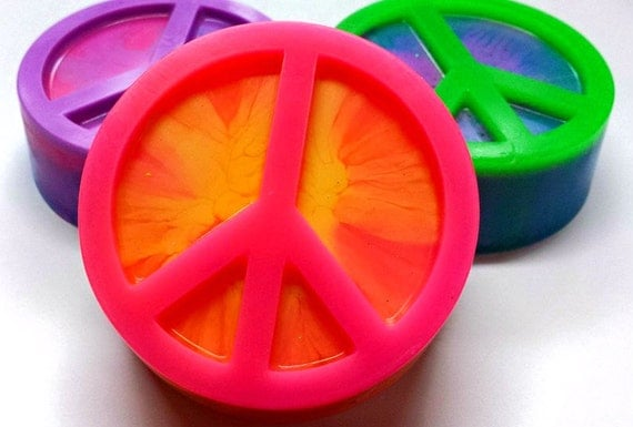 Peace Sign Soap - Peace Sign - Tie Dye - Retro - Hippie - Choose your colors and scent