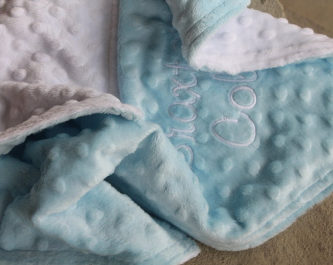 Baby Toddler Kids Minky Personalized Monogrammed Embroidered Soft and Comfy Chenille Securit Lovie Taggie Two Color Customized 17x17 Blanket