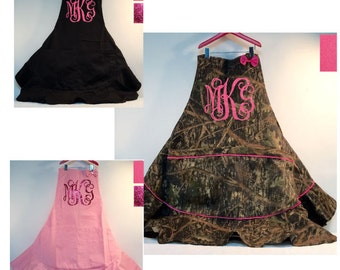 Heavy Duty Ruffle Skirt Aprons with bow Personalized/ Vine Monogram for your favorite cook / baker culinary expert