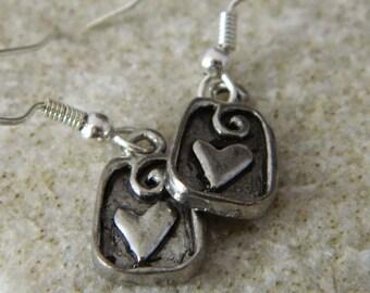 Small Metal Heart Earrings