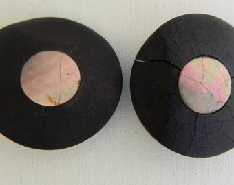 Mother of Pearl Ebony Wood Antique Buttons Large