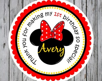 Minnie Mouse Insiped Stickers, Minnie Mouse Birthday Party, Personalized Labels - set of 12