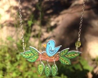 Nesting Bluebird Necklace