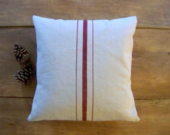 free shipping - grainsack pillow- christmas red pillow - red stripe - canvas - vintage style - farmhouse - rustic modern- red farmhouse