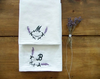 free shipping / lavender monogram tea towel / monogrammed / spring / spring home decor / embroidered / embroidery / personalized gift /