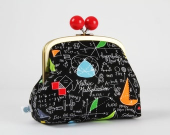Metal frame clutch bag - Math - Color bobble purse / Samarra Khaja / Black board / School lesson Geometry / Red orange blue green writing
