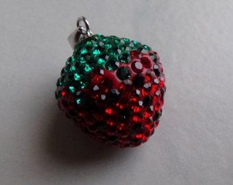 Swarovski Strawberry Pendant. Sterling Silver Bail