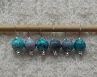 watercolor knitting stitch markers - snag free - lightweight acrylic beads 12mm - set of 6 - two loop sizes available