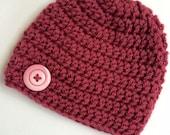 Newborn girl 0-3 months baby hat beanie dark rose pink infant hat baby photo prop Ready To Ship