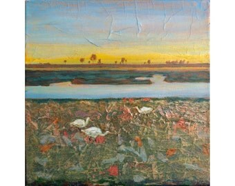 Marshland Painting, Egret Birds, Original Collage Art, Textured Acrylic Art, Contemporary Design, Original Canvas Art, Egrets Wading, 12 x12