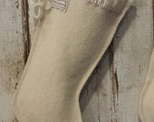 Cream Colored Wool Christmas Stocking