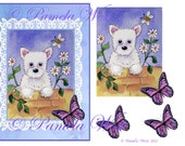 Instant Download. A4 decoupage sheet greeting card design Westie 1 Digital download for decoupage, cards and scrapbooking