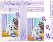 Instant Download. A4 decoupage sheet greeting card design Westie 7 Digital download for decoupage, cards and scrapbooking