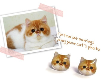 Customized / Personalized Cat Stud Earrings / Pet memorial gift / Pet Jewelry / personalised / Cat Lover gift / Pet Lover gift / Pet Loss