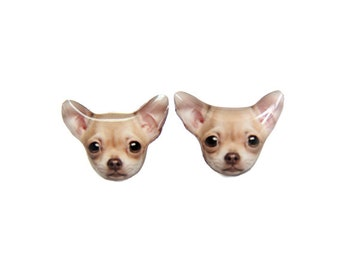 Brown Chihuahua Dog Stud Earrings / Chihuahua earrings / Chihuahua jewelry / Tiny earrings / Dog lovers / Pet memorial / Gift / A025ER-D13