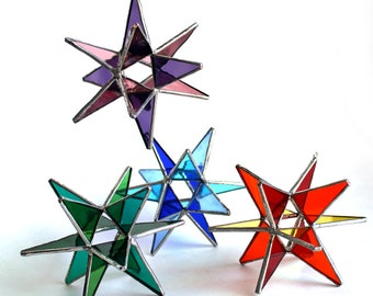 NEW Stained Glass Moravian Stars - Four Seasons 4 Stars-Home Decor -  4.5""