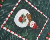 Snowman Quilted Christmas Mug Rug Snack Mat Red Green White