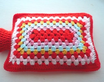 Hot Water Bottle Cover Cozy in Shades of Red and Pink