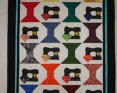 Featherweight and Spools Quilt Top unfinished Ready to be Quilted wall hanging decor