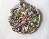 """Peridot, Sterling Silver and Rock Crystals - """"Neglected Garden"""""""