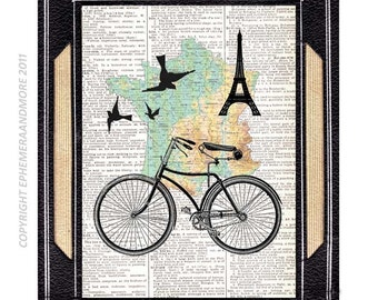 France by BIKE art print PARIS Tour de Eiffel map bicycle black green yellow on upcycled vintage dictionary book page wall decor 8x10, 5x7