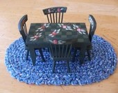 Miniature Crochet Dollhouse Oval Rug Country blue colors