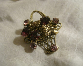 Vintage tiny midcentury purple crystals flower basket pin, purple shades flower crystals goldtone basket brooch, February amethyst look pin