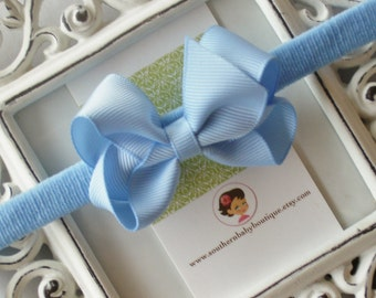 New Item----Boutique Baby Girl Hair bow Dainty Headband-----Baby Blue----Makes a Perfect Gift