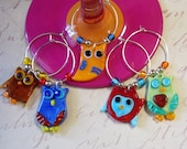 Wine Charms, Whimsy Owl Wine Charms, Owl Lampwork Wine Markers, Colorful Wine Jewelry, Glass Owls