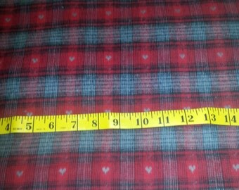 Red Grey Homespun Yarn Dyed Flannel Plaid Fabric over 3-1/2yd