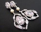 Long Bridal earrings, Crystal Wedding earrings, Wedding jewelry, Chandelier earrings, Rhinestone earrings, Teardrop earrings, Vintage style