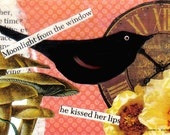 Folk Art Valentine, Black Bird, Mixed Media Collage, Pink Yellow, Found Text, Typography Home Decor, Romantic ACEO, Small Art, Giclee Print
