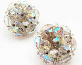 Vintage Signed Laguna Glass Aurora Borealis Clip On Earrings, Glass Cluster Bead Earrings