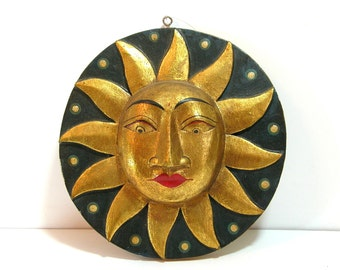 Carved Wood Sun And Moon Two Sided Plaque