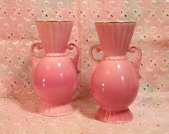 Pair Of Pink Royal Copley Vases