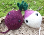 Beet plush toy, turnip plush toy, stuffed beet toy, stuffed turnip toy, hand knit felted veggie, play food