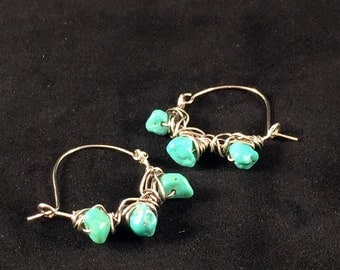 Sterling Silver Blue-Green Turquoise Earrings