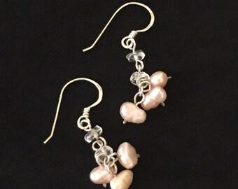 Pink nugget pearl with blue topaz gemstone earrings