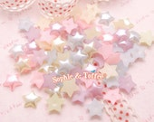 10mm Mixed Pastel Colors Star Pearls Flatback - 200pcs | Fake Pearls | Pastel Stars | Decoden - 200 pc