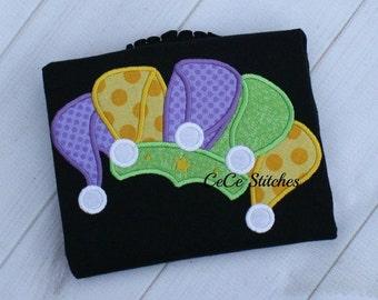 Mardi Gras Jester Hat Embroidery Applique Design