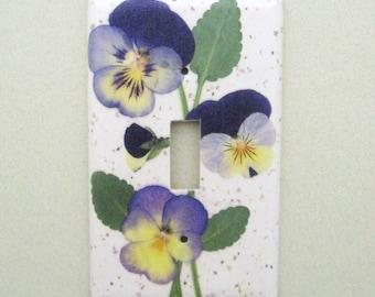 Purple pansy single lightswitch cover switchplate