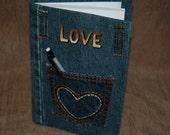 Journal Denim Pocket ~ LOVE~ Blank Pages ~ Handmade