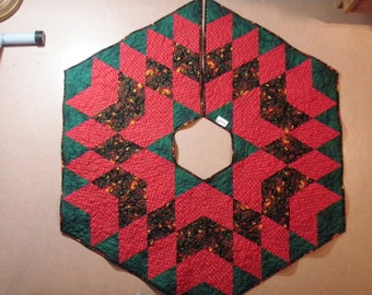 Quilted Christmas Tree Skirt Handmade Quiltsy Idaho Green Red