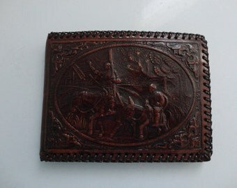 VINTAGE tooled leather CASH WALLET
