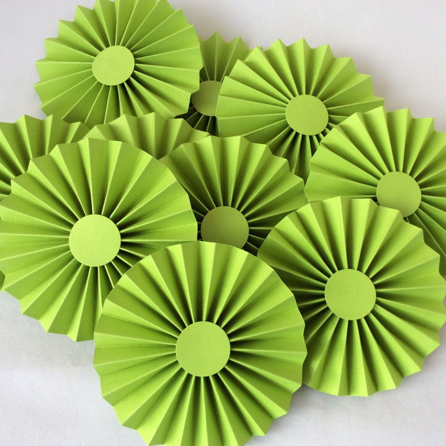 10 Lime Green Paper Rosettes Paper Medallion By Craftdeeliving