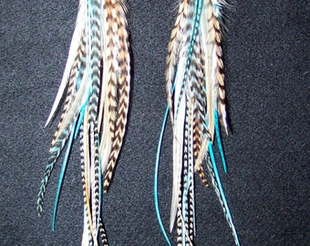 Long Feather Earring, Feather Extension, Black and White Grizzly Feathers, Feather Hair Extension, Turquoise Natural Feather Earrings, beach