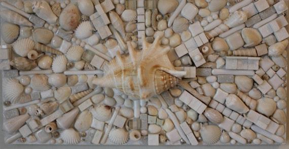 Mosaic art seashells glass multi media abstract by for Seashell mosaic art