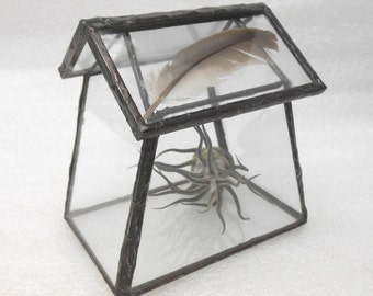 Geometric Glass Terrarium House - Handmade Stained Glass Terrarium Planter for Indoor Garden - Feather top terrarium