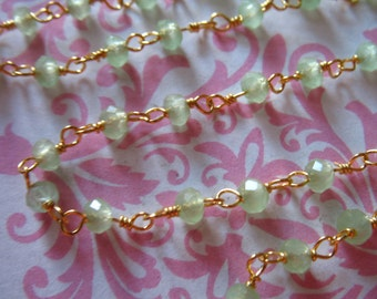 Wire Wrapped Rosary Chain, CHALCEDONY Beaded Chain, 5-50 feet,  SEAFOAM GREEN, Gold or Silver Plated, wholesale rc.13.g solo